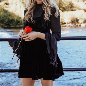 Free People Black Velour/Sheer Mini Dress
